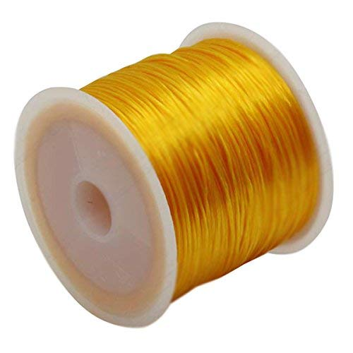Potelin Premium Quality Jewelry Making String Cord - 60m Stretchy Elastic Crystal String Cord Thread for Jewelry Making, Gold Yellow