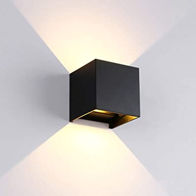 Wall Lights Living Room Led, Modern Aluminum Wall Lamp Square Cube Indoor Outdoor Waterproof Wall Light for Entrance Bar Bedroom Beside, Type of Bulbs : LED, 6W, 85-265V (Black, Warm White)