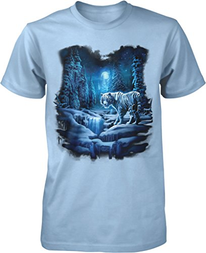 Snow Tiger (Snow Tiger, White Tiger Men's T-shirt, NOFO Clothing Co. L LtBlue)