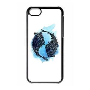 iPhone 5c Cell Phone Case Black Pisces zodiac sign (tattoo style with blue watercolor) Zdyo