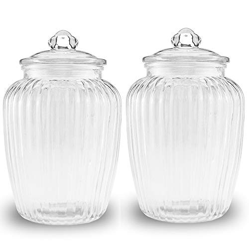 - Folinstall 2-Piece 74 FL OZ Glass Canister - Pumpkin Jar - Food Preserving Jars with Glass Lids Great for Cereal, Candy, Nuts and Cookies, Clear, 2.2 Liter
