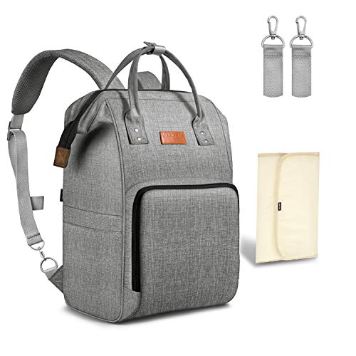 UBBCARE Diaper Bag Backpack Large Multi-Function Travel Back Pack Grey Baby Nappy Changing Bag for Mom and Dad with Changing Pad