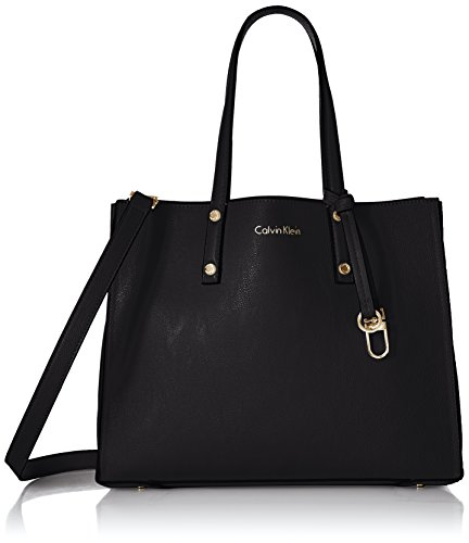 Calvin Klein Faux Leather Small East/West Tote, Black/Gold
