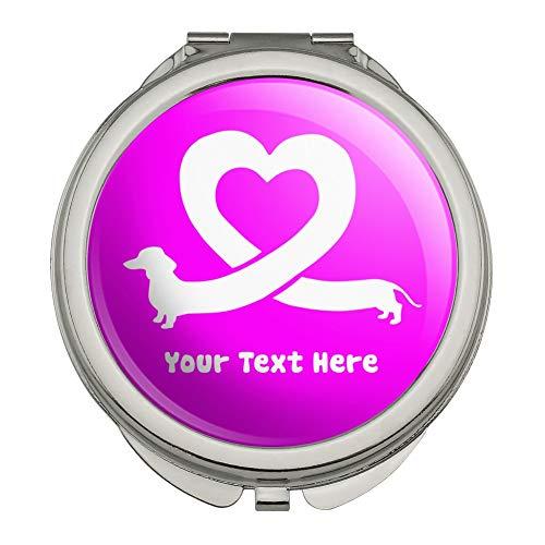 - Personalized Custom 1 Line Dachshund Wiener Dog Love Heart Compact Travel Purse Handbag Makeup Mirror