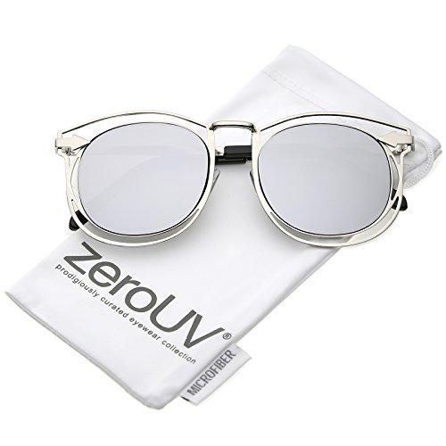 zeroUV - Oversize Open Metal Arrow Round Mirror Flat Lens Horn Rimmed Sunglasses 55mm (Silver/Silver Mirror)