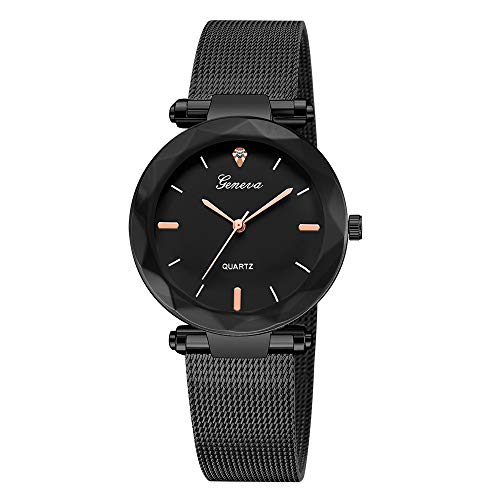 Star_wuvi Unisex Watches for Women Geneva Retro Wtach Stainless Steel Mesh Belt Watches Simple Lover's Bracelet Watches Quartz Wrist Watch (Black)