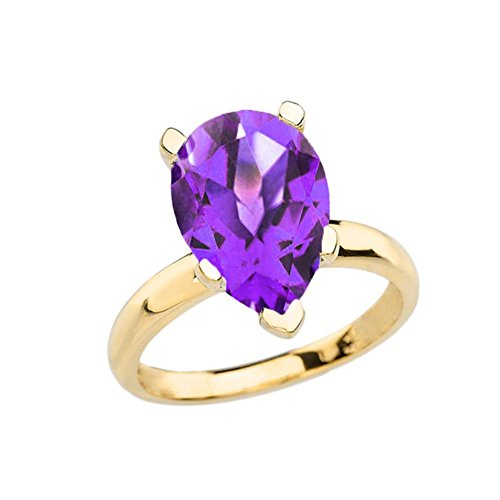 Elegant 10k Yellow Gold Over 8 ct Pear Shape Amethyst Solitaire Ring (Size 9.25)