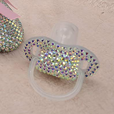 Dollbling Custom Unique Sparkle Rhinestones/White Pearls Crystals Baby Pacifier,1PC