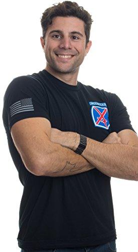 10th Mountain Division & Sleeve Flag | U.S. Military Army Veteran Div T-Shirt-(Black,2XL)