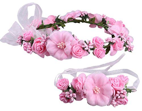Love Sweety Rose Flower Crown Wreath Wedding Headband Wrist Band Set (Pink)