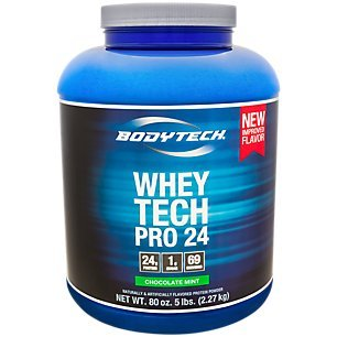 BodyTech Whey Tech Pro 24 Protein Powder Protein Enzyme Blend with BCAA's to Fuel Muscle Growth Recovery, Ideal for PostWorkout Muscle Building Chocolate Mint (5 Pound)