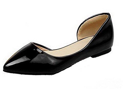 VogueZone009 Damen Spitz Zehe PU Ziehen auf Rein Niedriger Absatz Pumps Schuhe Schwarz