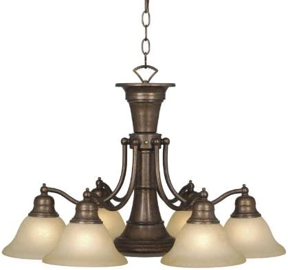 Vaxcel USA Lighting CH30307RBZ, Standford 7 Light Chandelier Lighting Fixture, Bronze, Glass, B8010