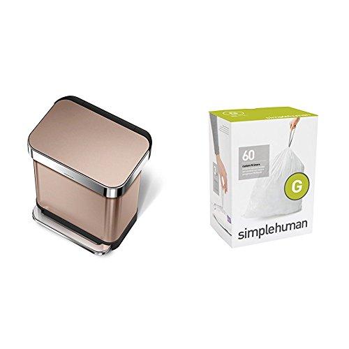 simplehuman 30L Rectangular Step Trash Can with Liner Pocket