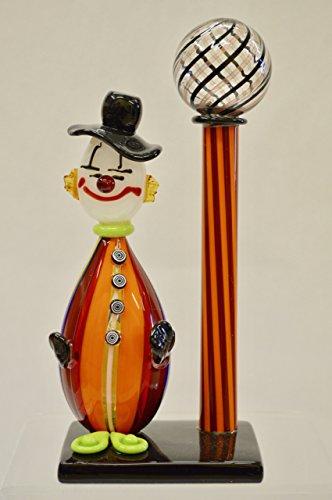 Murano Glass Pazzia Clown with Lamp Post (Orange)