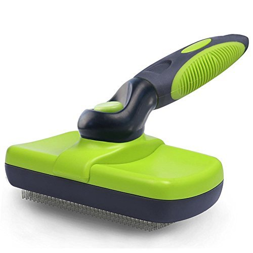 ZOTO Self Cleaning Slicker Brush, Pet Brush with Ergonomic Non-Slip Handle for Dog Cat Grooming, Remove Knots, Tangled Matted Fur and Reduces Shedding with Press Button