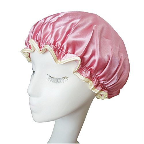 Youwen 1 Pack Nylon Eco-Friendly Peva Waterproof Shower Cap Double Layer Bath Cap Elastic Band Spa Shower Hat with 1 Pack Hairband Coral Fleece Hair Clasp