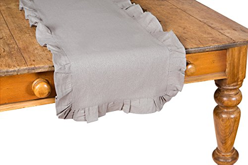 Xia Home Fashions Ruffle Trim Solid Table Runner, 16 by 54-Inch, Taupe (Ruffled Table Runner)