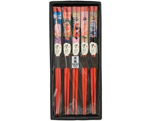 Japanese Chopsticks 5 Pair Set Dining Table Starter Kit Beautiful Gift Item Nicely Packaged (Geisha) ()
