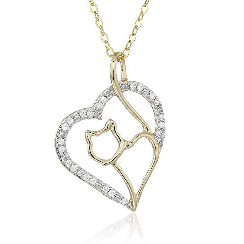 1/10 cttw Diamond Cat and Heart Pendant In 14K Yellow Gold with 18 Inch Chain -