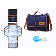 ninilulu Portable Changing Diaper Station with Waterproof Wipeable Pad – Quality Compact Foldable Baby Travel Bag and Mat with Extra Comfortable Head Foam – 2 Bonus: Pacifier Case, Cream Container