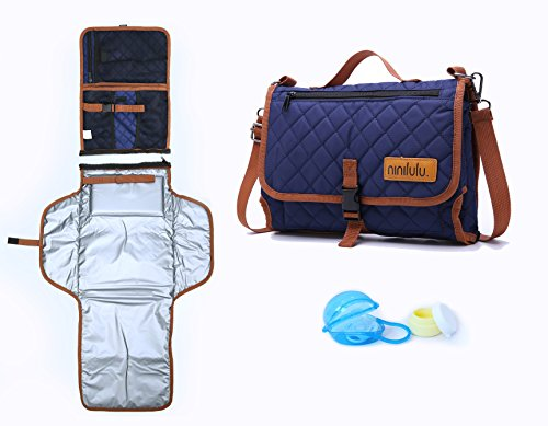 Diaper Dash - ninilulu Portable Changing Diaper Station with Waterproof Wipeable Pad – Quality Compact Foldable Baby Travel Bag and Mat with Extra Comfortable Head Foam – 2 Bonus: Pacifier Case, Cream Container