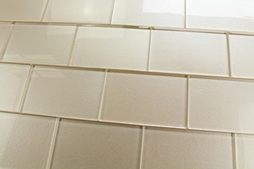 "2 pieces 4"" x 6"" Samples - Elements Sand 4x6 Glass Subway Tiles"