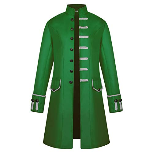 iCos Unisex Medieval Steampunk Coat Men Stand Collar Jacket Formal Halloween Costume Uniform (Medium, Green) -