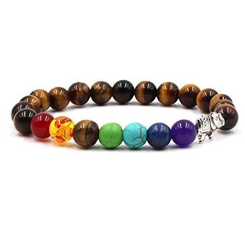 DLNCTD Natural Stone Beads 7 Chakra Healing Balance Elephant Charm Bracelets Yoga Reiki Prayer Bead Bracelet for Men Women pulseira,Imitation Rhodium Plated]()