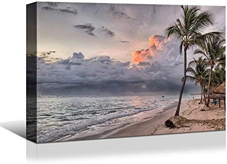 Looife Seascape Canvas Prints Wall Art-48×36 Inch Tropic Palm Trees on Beach at Sunset Picture Wall Decor