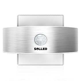 SOLLED Motion Sensor LED Wall Sconce Night Light - Luxury Aluminum Design Rechargeable Stick Anywhere - Suitable for Hallway, Pathway, Staircase, Garden, Wall