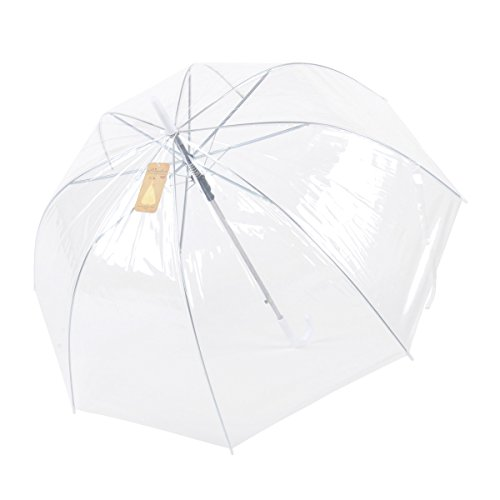 Topwedding Women's Dome Clear Transparent Automatic Rain Umbrella Parasol for Favor by Topwedding
