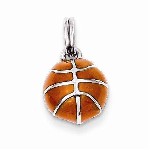 Solid 925 Sterling Silver Pendant 3D Enameled Basketball Charm (11mm x 10mm)