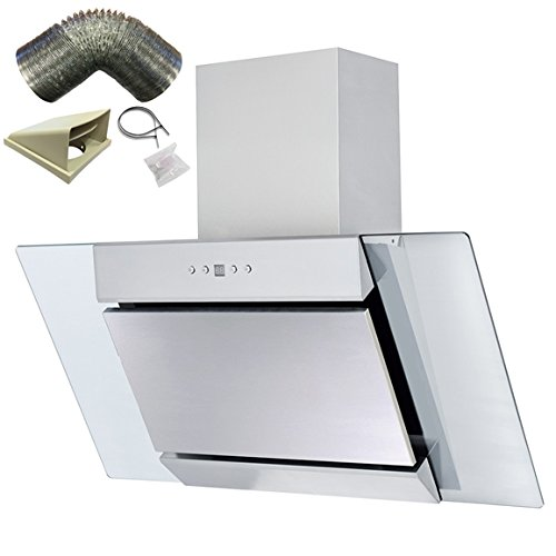SIA AGL91SS 90cm S/Steel Angled Glass Chimney Cooker Hood Extractor+ 3m Ducting