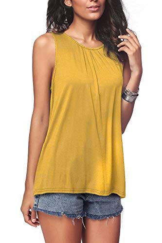 (Bloggerlove Womens Casual Pleated Tank Tops Sleeveless Tunic Soild Tee Shirts Yellow)