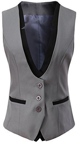 Vocni Women V-Neck Slim Fit Business Office Bottoned Dressy Suit Vest Waistcoat,Grey,US XXL (Fit Bust 46.1