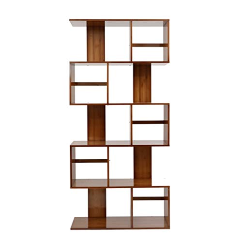 (QiXian Shelves Organizer for Books Bookcase Bookshelf Ends Floor Type Bamboo Shelf Modern Contemporary Minimalist Living Room Cut Off The Shelf Strong Sturdy, 5-Tier)