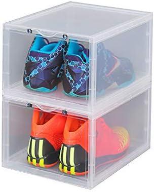 K.T.Z Magnetic Side Open Transparent Plastic Storage Shoe Box Stackable Foldable Storage Shoe Box Sneaker Storage Box Clear Plastic Shoe Boxes Size:14.2X11X8.7 Inch (B Style Transparent, 2 PCS)