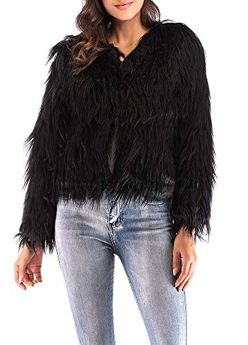 Anself Women's Shaggy Faux Fur Coat Solid Color Long Sleeve Short Jacket Black