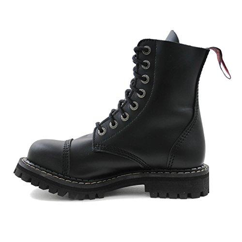 Angry Itch - 8-agujeros botas goticas punk de cuero nero - tamaño 36-48 - Made in EU!