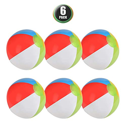 6 Pack Inflatable Beach Balls - 12 Inch,