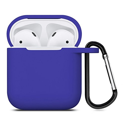 ZALU Compatible for AirPods Case with Keychain, Shockproof Protective Premium Silicone Cover Skin for AirPods Charging Case 2 & 1 (AirPods 1, Blue)