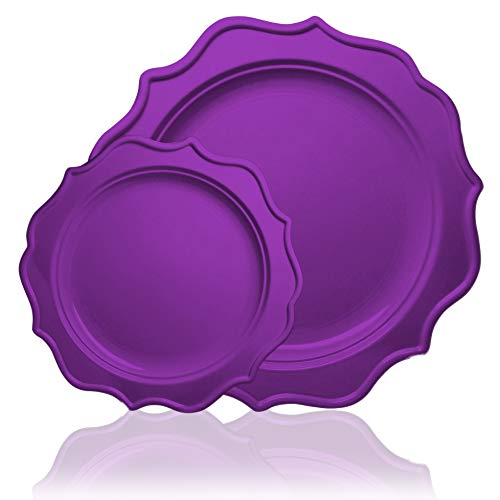 Tiger Chef 96-Pack Purple Color Round Scalloped Rim Disposable Plastic Plate Set for 48 Guests Includes 48 10-Inch Dinner Plates, 48 8-Inch Salad Plates - BPA-Free