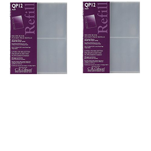(C.R. Gibson QP-12 Small Recipe Book Pocket Page Refill 20 Sheets (Pack of 2) ...)