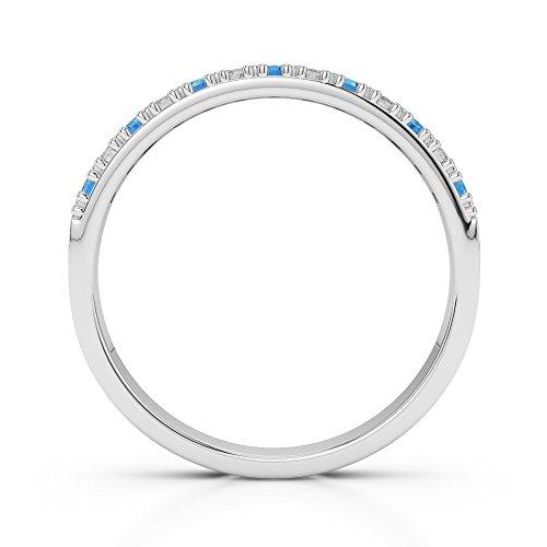 Or blanc 18carats 0.11CT G-H/VS Certifié Coupe ronde Topaze bleue et diamants Agdr-1129