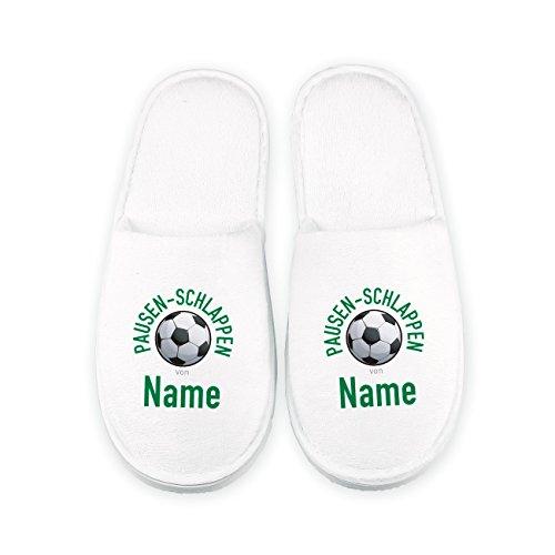 Cera & Toys® Pantoffeln für Fußballer - Pausen-Schlappen - mit Namen