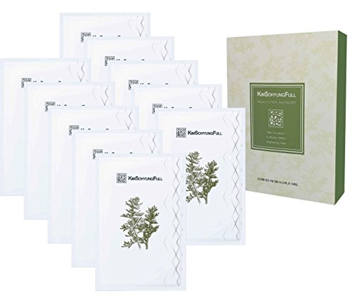 [KimSohyungFull] BONCHO Real Mugwort Sheet Mask (23ml x 10 packets) - Contains 8% Real Natural Mugwort Leaves, Innovative 3-layer 100% Natural Botanical Sheet, ()