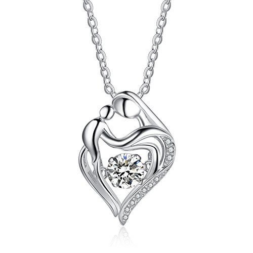925 Sterling Silver Mother and Child Beating Heart Shape CZ Pendant Necklace, Rolo Chain 16'' + 2''