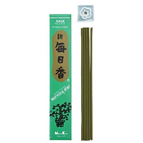 Morning Star Japanese Incense Sticks SAGE 50 Sticks & holder'