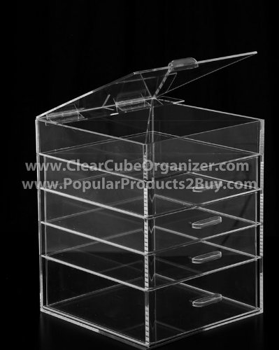 ACRYLIC CLEAR CUBE MAKEUP ORGANIZER 4 plus one w/Lid by Clear Cube Organizer
